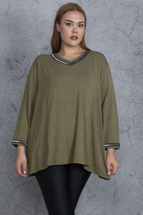 Şans Kadın Haki Sim Detaylı Bluz 65N19479