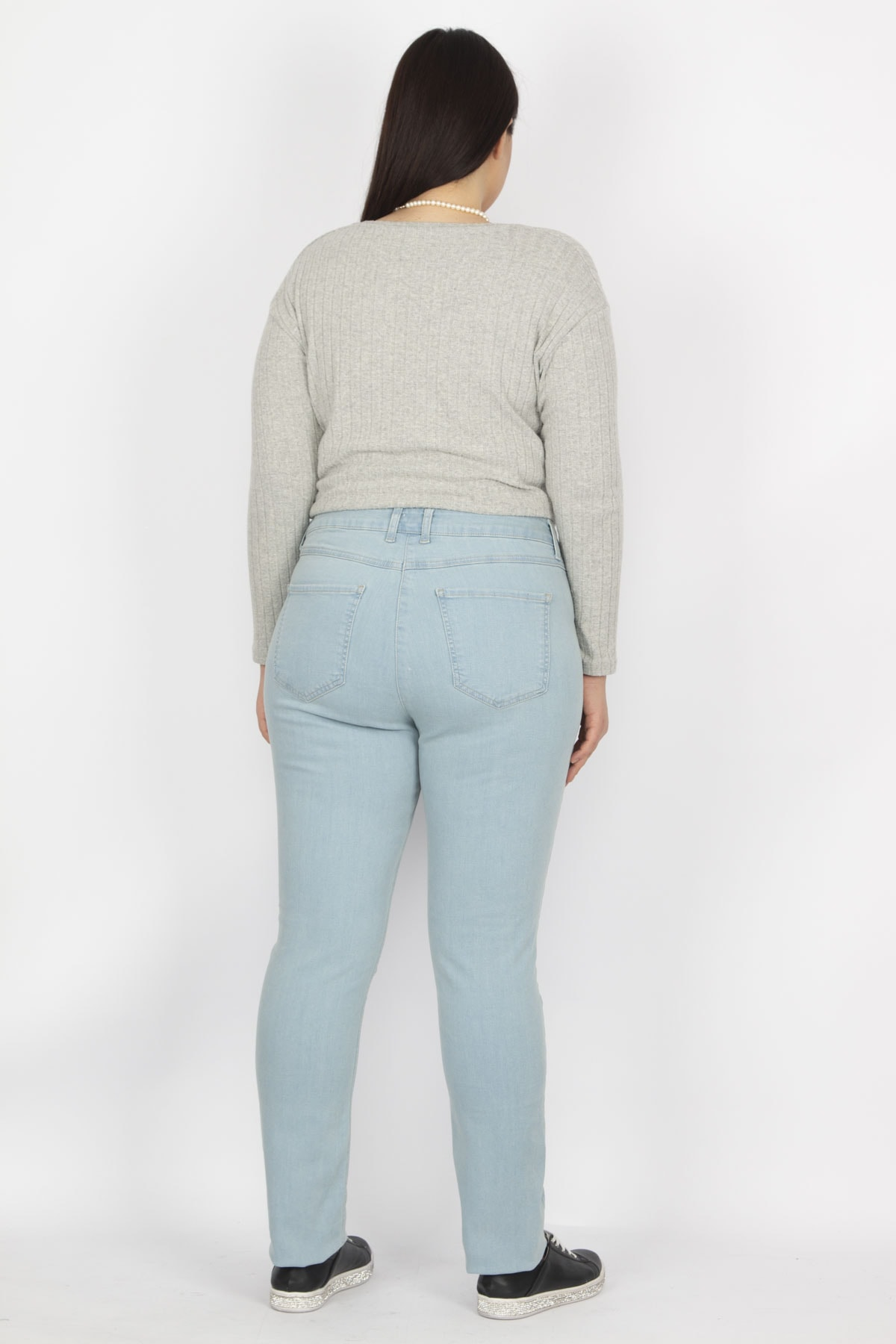 Şans Kadın Mavi Likralı Gabardin Kumaş 5 Cepli Pantolon 65N19451 2