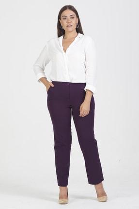 Şans Kadın Mürdüm Cepli Klasik Pantolon 65N19473