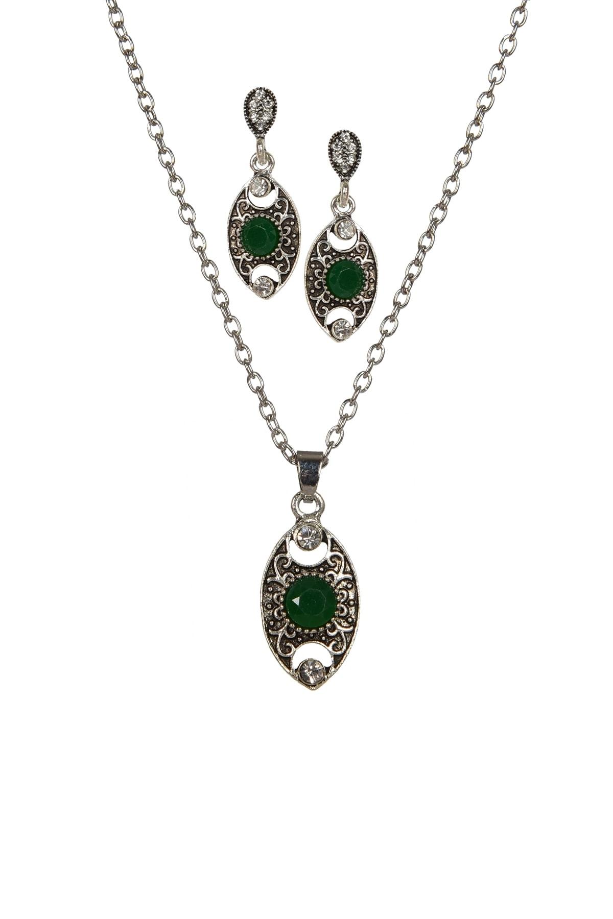 bizdensiniz Kadın Yeşil Akik Taşı Kolye Ve Küpe Set Bs221629 1