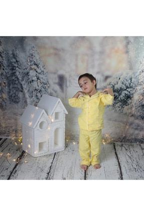 Ninna Kids Çocuk Sarı  Pazen Pijama Takımı Nakışlı