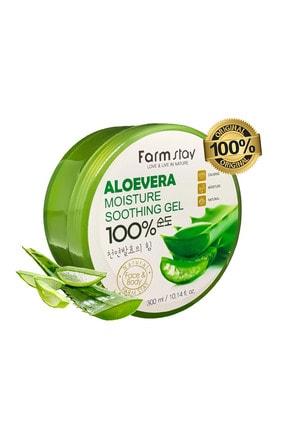 Farmstay %100 Saf Aloe Vera Moisture Soothing Gel - Yoğun Nemlendirici Yatıştırıcı Jel - Büyük Boy 300 Ml
