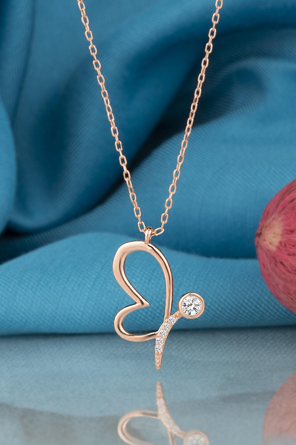 Kara Jewelry Gümüş Kolye Orijinal Swarovskı Taşlı Kelebek Temalı Rose Kaplama Bayan Kolye 1