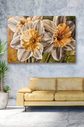 Hediyeler Kapında 70x100 Altın Çiçek Kanvas Tablo