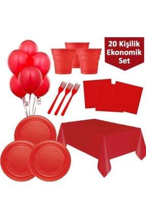 Roll-Up Kırmızı Doğum Günü Malzemeleri - 20 Li
