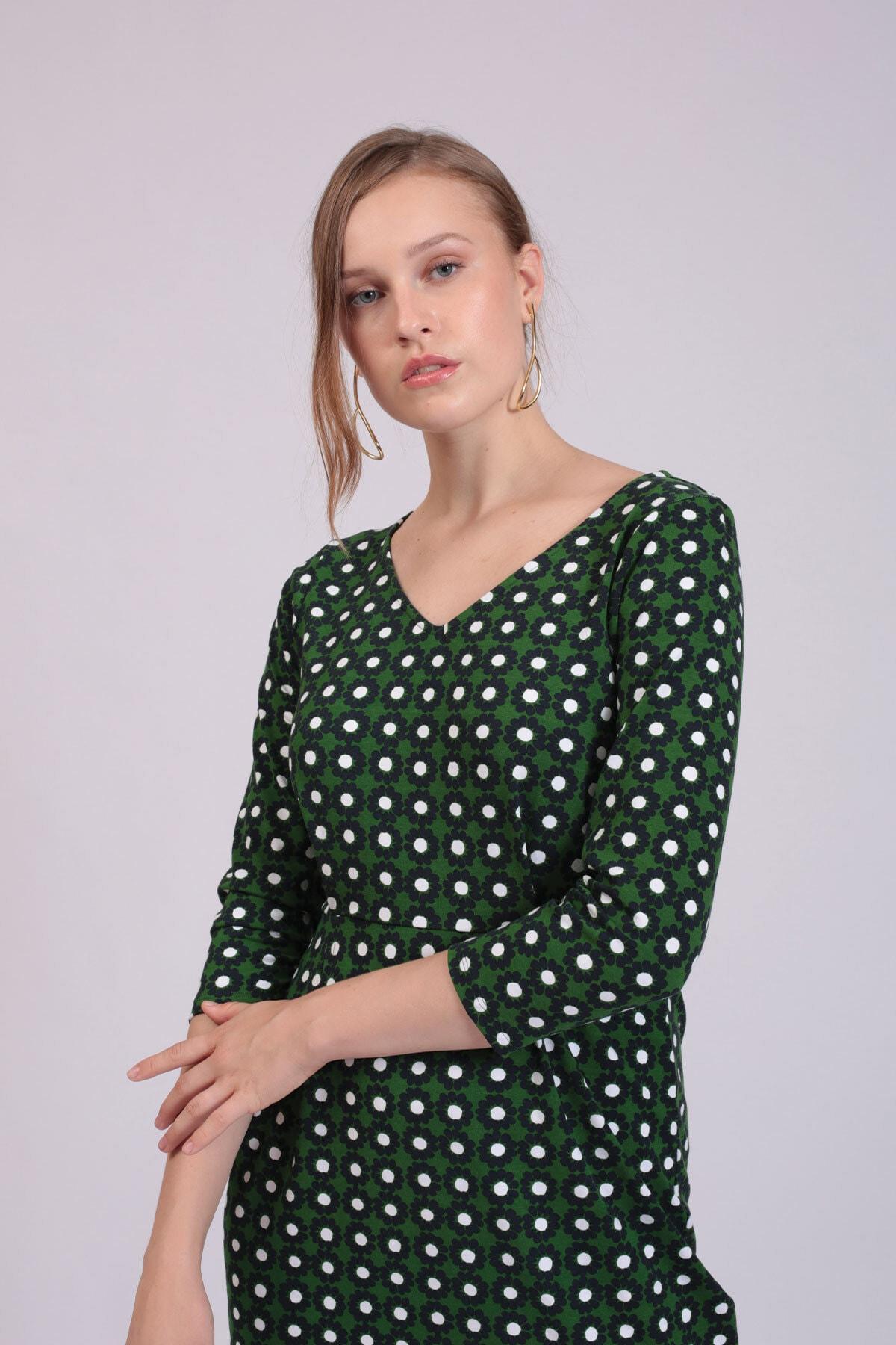 Hanna's by Hanna Darsa Kadın Yeşil Papatya Desenli Elbise  HN2792