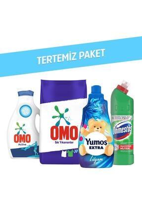 Omo Toz Deterjan 7.5 Kg + Yumoş Lilyum 1440 Ml + Domestos Dağ Esintisi 750 Ml + Active 1950 Ml