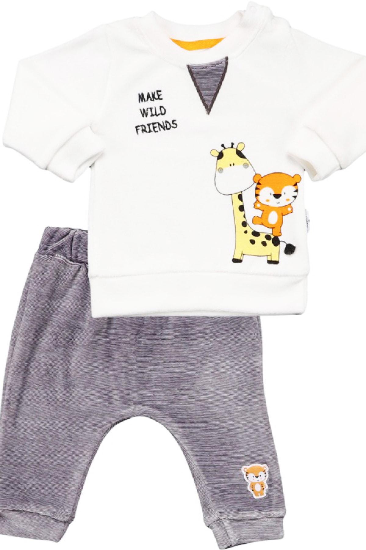 Miniworld Erkek Bebek Ekru 2'li Kadife Takım 1