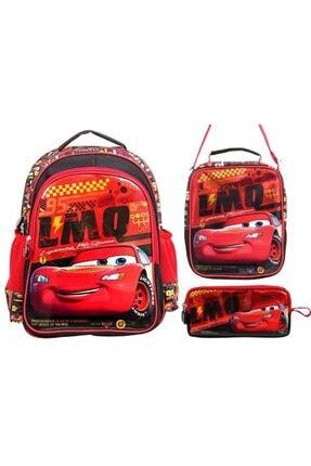 Frocx Çocuk Kırmızı Cars Şimşek Mcqueen Ilkokul Okul Çantası Seti