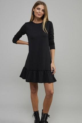 Cool & Sexy Kadın Siyah Eteği Volanlı Elbise B1432