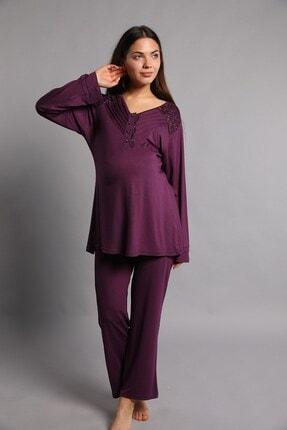Lohusa Sepeti Kadın Mor Hamile Pijama Takımı
