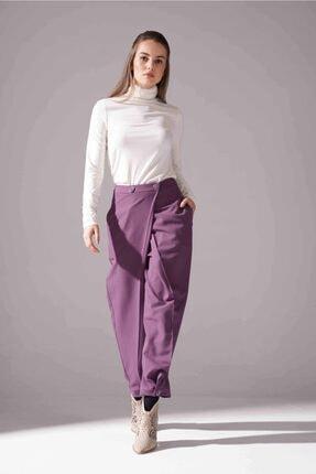 Mizalle Kadın Mor Kruvaze Krep Pantolon