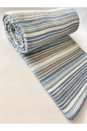 Taşan Tekstil Mavi Çift Kişilik Çizgili Skoç Battaniye