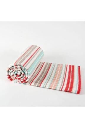 Taşan Tekstil Kırmızı Çift Kişilik Çizgili Skoç Battaniye