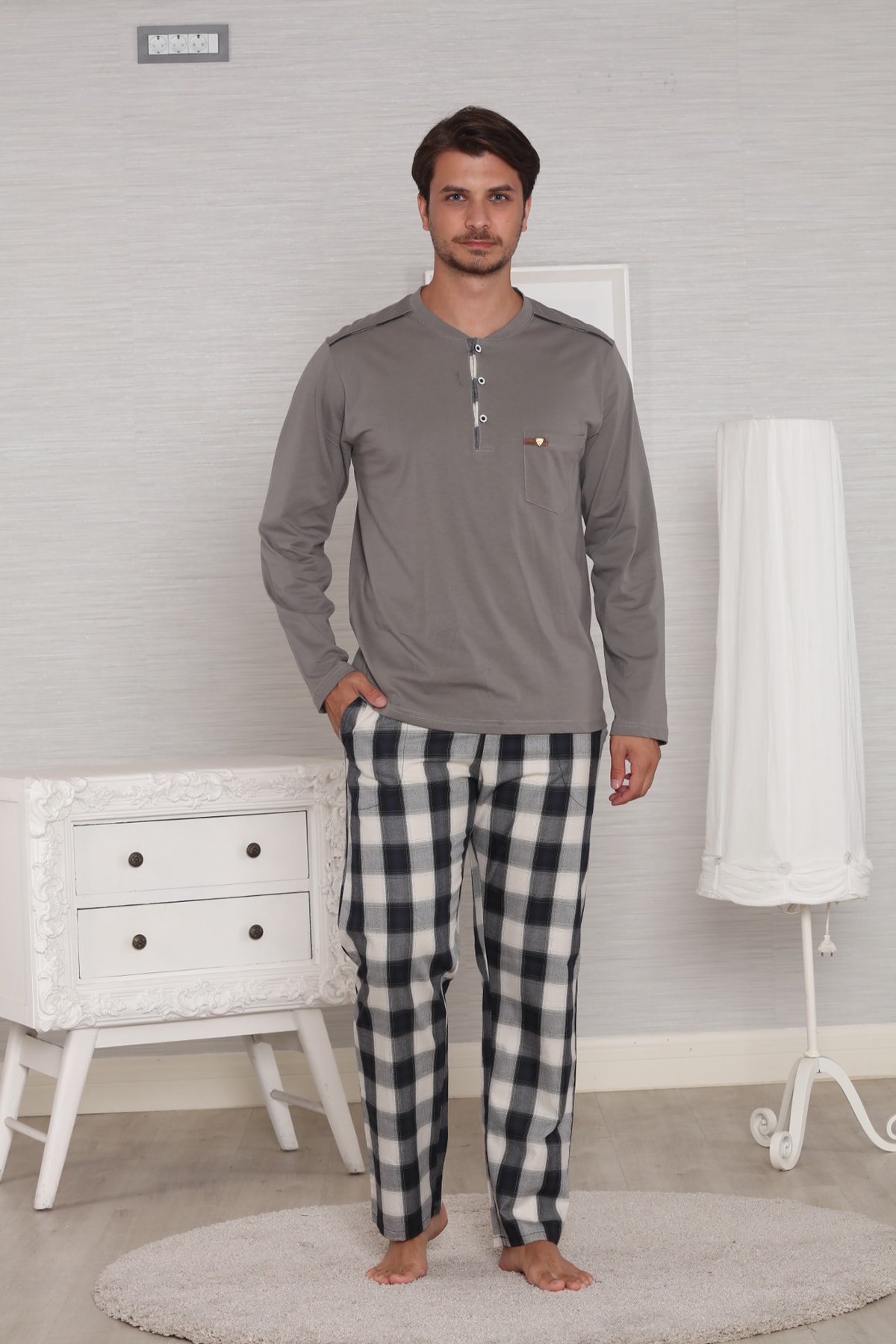 Pelin  Gri Pamuk Penye Ekoseli Pazen Poplin Dokuma 4 Mevsim Penye Erkek Pijama Takımı 1