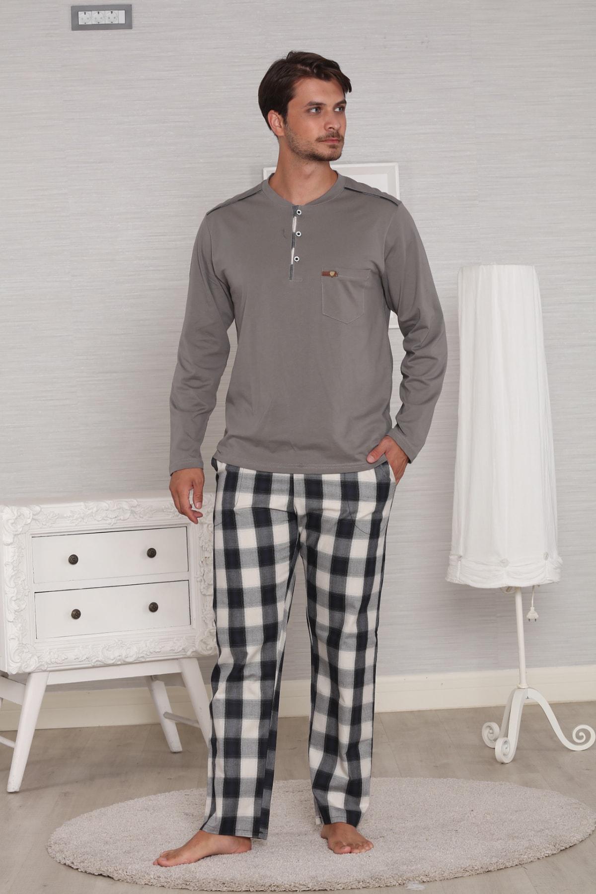 Pelin  Gri Pamuk Penye Ekoseli Pazen Poplin Dokuma 4 Mevsim Penye Erkek Pijama Takımı 2