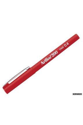artline 200 Fineliner 0.4mm Ince Uçlu Yazı Ve Çizim Kalemi Kırmızı