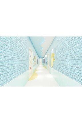 Renkli Duvarlar Nw05 Açık Mavi Tuğla Arkası Yapışkanlı Esnek Silinebilir Duvar Paneli