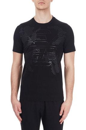 Emporio Armani Erkek Siyah Baskılı Bisiklet Yaka % 100 Pamuk T Shirt T Shirt 6h1tg2 1jtuz 0999