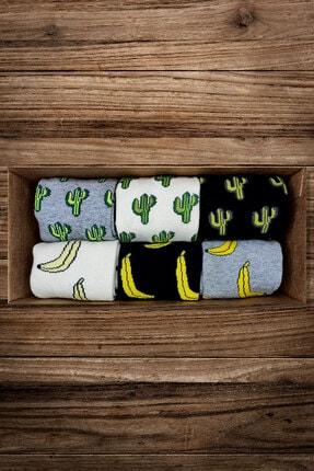 Moon Socks Unisex Muz Ve Kaktüs Desenli Tasarım Kısa Çorap
