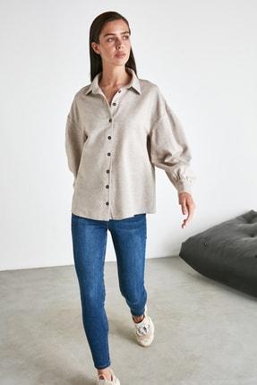 TRENDYOLMİLLA Bej Basic Gömlek TWOAW21GO0212