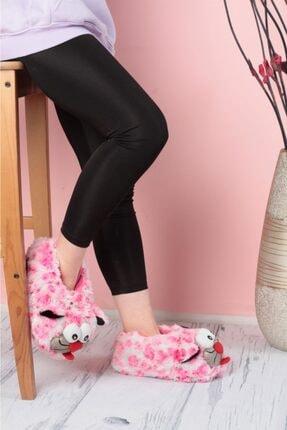 EDS Shoes Kadın Pembe Bıyıklı Kedi Desenli Ev Botu Panduf