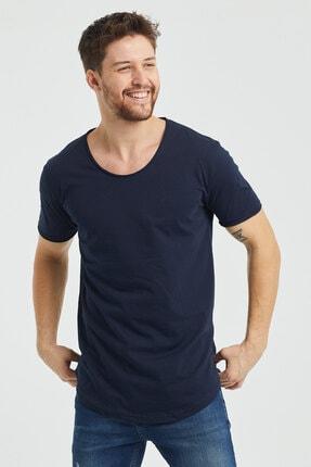 Tarz Cool Erkek Lacivert Pis Yaka Salaş T-shirt
