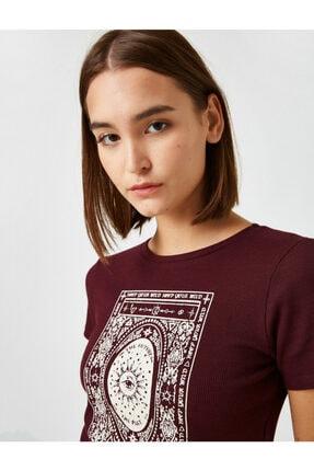 Koton Kadın Bordo Pamuklu Bisiklet Yaka Baskılı T-Shirt