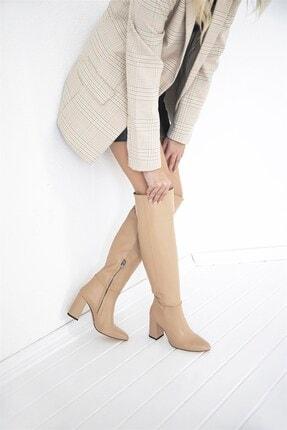 STRASWANS Kadın Nude Topuklu Fermuar Detaylı Deri Çizme