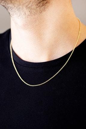Cenova Kuyumculuk Erkek 14 Ayar Altın İnce Sarı Zincir Kolye 50 Cm