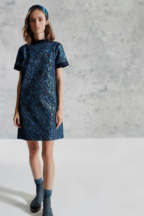 Yargıcı Kadın Turkuaz Dik Yakalı Elbise 0KKEL7012A
