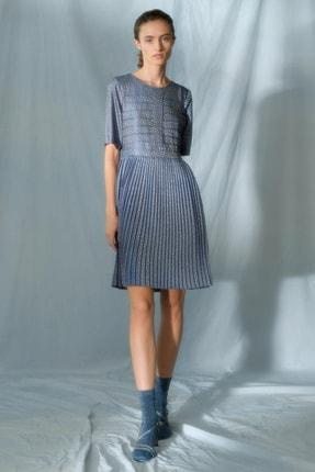 Yargıcı Kadın Mavi Desenli Nervür Detaylı Elbise 0KKEL7001A