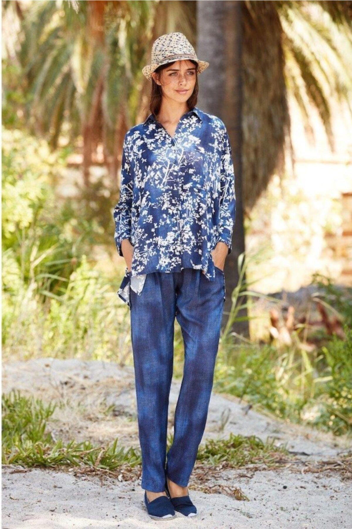Penyemood Kadın Lacivert Çiçek Desenli Viskoz Pijama Takımı 1
