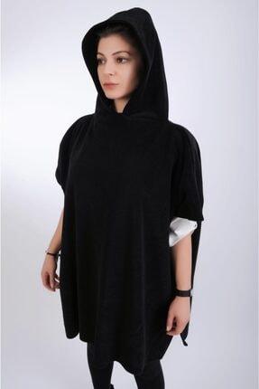 Dekorix Kadın Siyah Polar Kapüşonlu Panço