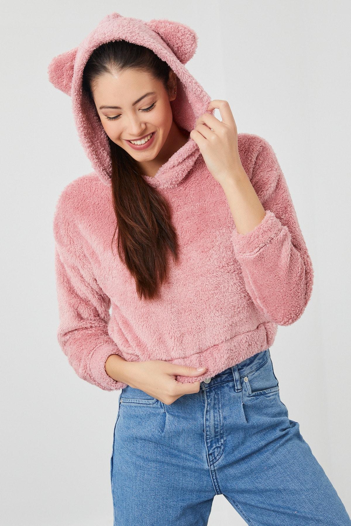 Moda Club Kadın Pembe Peluş Ayıcık Kapüşonlu Sweatshirt 1