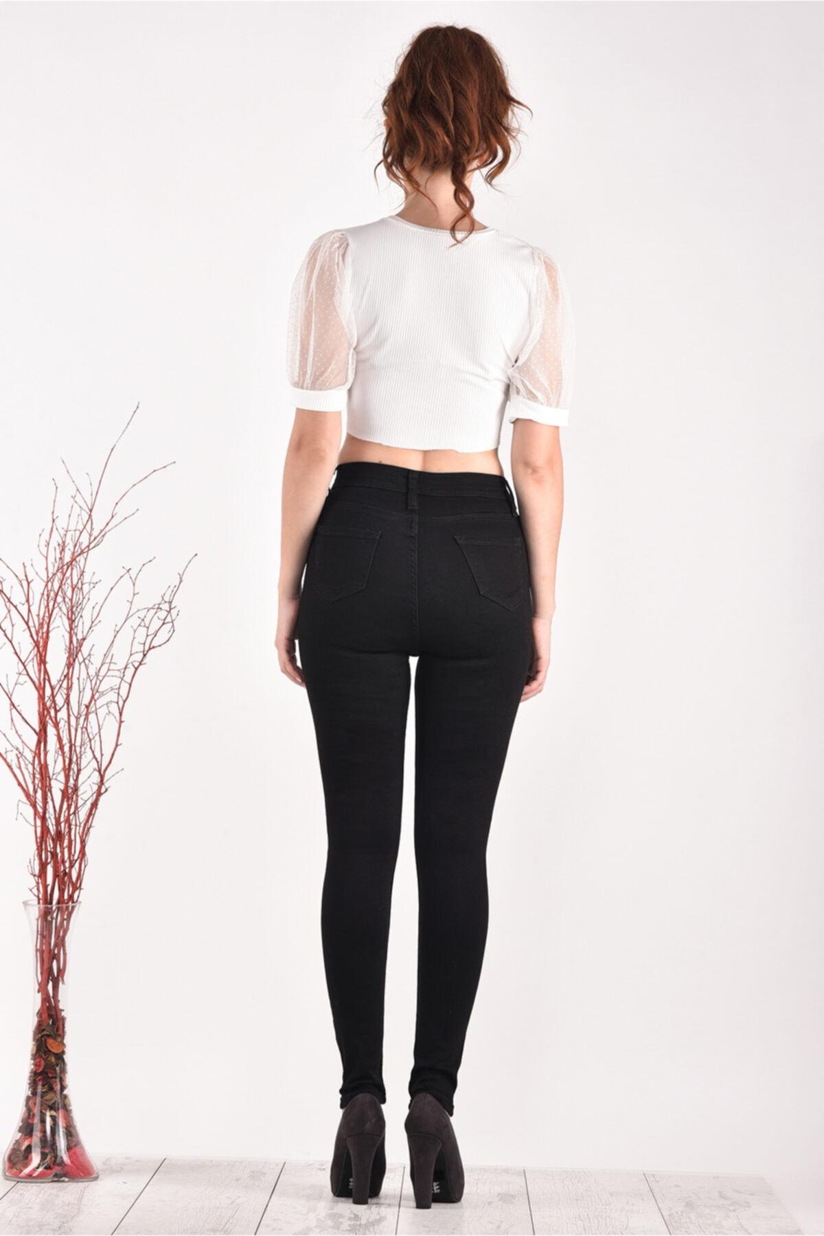 PANTOLOJİ Kadın Yüksek Bel Dar Paça 824 Model Black Bayan Jeans Pantolon 2