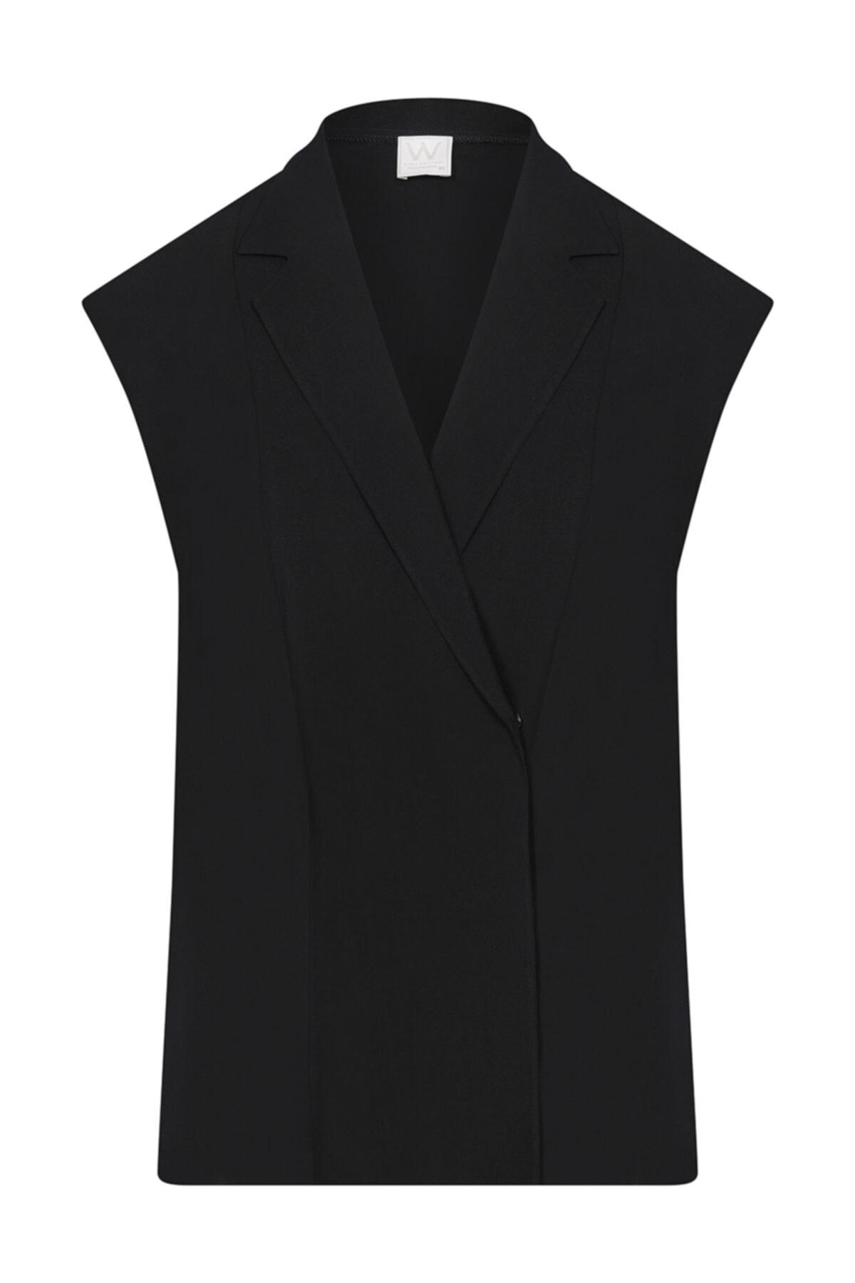 W Collection Siyah Anvelop Kolsuz Bluz 1