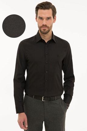 Pierre Cardin Erkek Siyah Slim Fit Oxford Gömlek