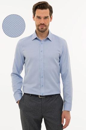 Pierre Cardin Erkek Koyu Mavi Slim Fit Armürlü Gömlek