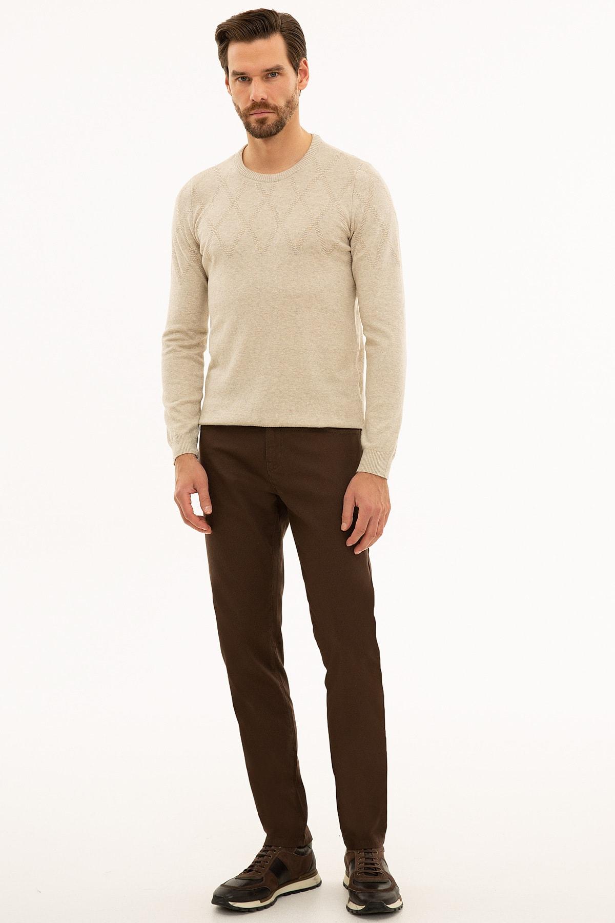 Pierre Cardin Erkek Kahverengi Slim Fit Chino Pantolon 1