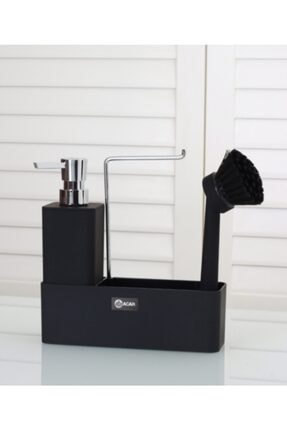 mutfakfoni Acar 2'li Akrilik Stand Fırçalı Kare Sıvı Sabunluk Akr-11279/2
