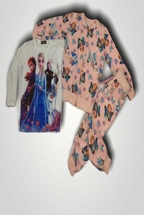Frozen Kız Çocuk Pembe Örme Üçlü Takım