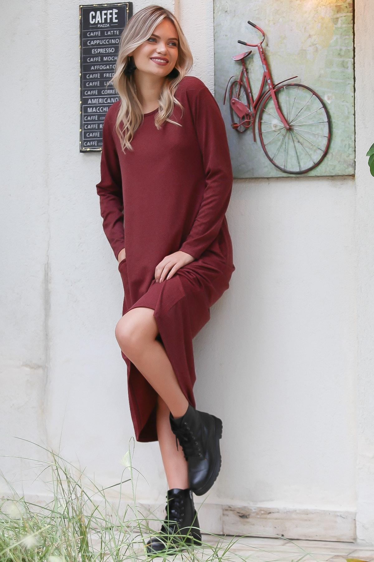 Chiccy Kadın Kiremit Casual Gizli Cepli Yumoş Elbise C10160000EL96083