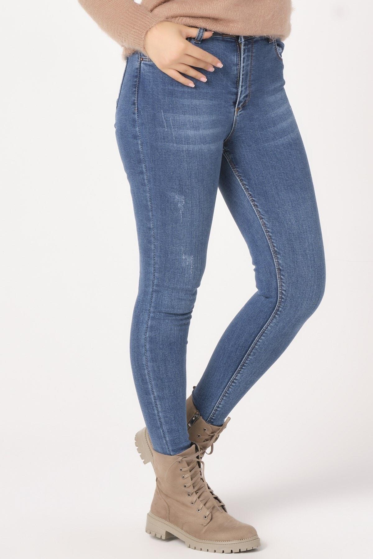 KETEEN Kadın Mavi Dar Paça Mira Bilek Kot Pantolon 2