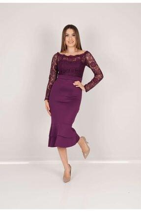 giyimmasalı Kadın Patlıcan Mor Üst Güpür Alt Scuba Eteği Volanlı Elbise