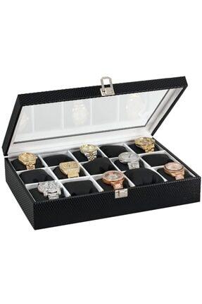 Chavin 15 Li Diamond Siyah Deri Ahşap Üzeri Cam Saat Kutusu St15-20