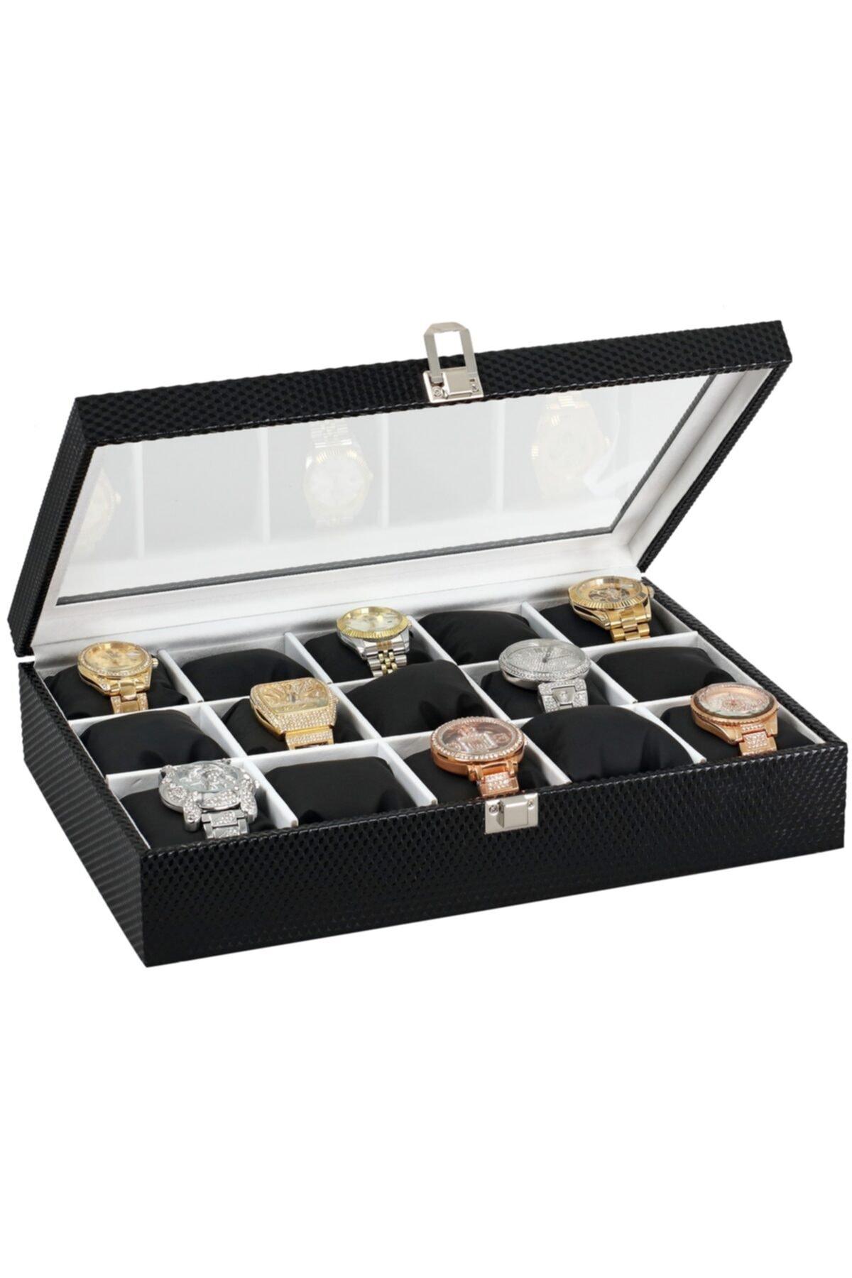 Chavin 15 Li Diamond Siyah Deri Ahşap Üzeri Cam Saat Kutusu St15-20 1
