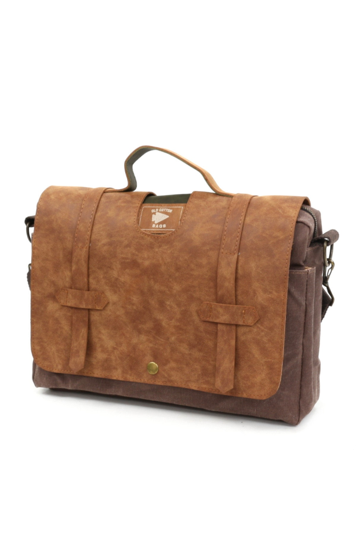 Old Cotton 7073 New Cortland Su Geçirmez Omuz-evrak-seyahat-15inch Laptop-notebook Çantası Camel 1