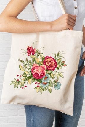 Hediyeler Kapında Çiçek Temalı Baskılı Kanvas Bez Çanta