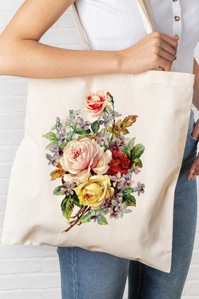 Hediyeler Kapında Renkli Çiçekler Baskılı Kanvas Bez Çanta